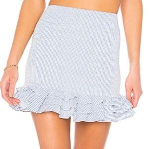 Revolve Blue & White Striped Ruffle Skirt